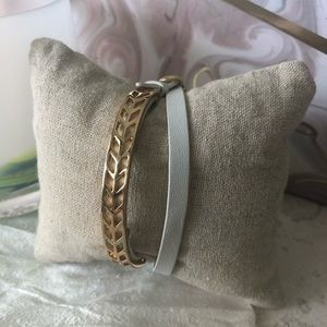 Stella & Dot Gold and White Leather Wrap Bracelet